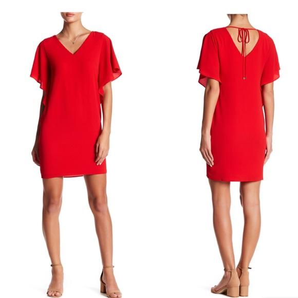 e0d487c628b Eliza J Crepe Split dolman Sleeve Dress in red